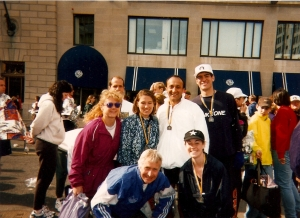 Boston - Quite a few years back!  I'm in the black hat and my eyes are close...but I did just run 26.2 miles!