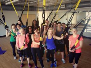 Happy students learning something new! (and we'll have TRX soon at 12South Pilates!)