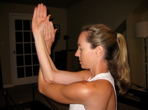 Demonstrating a Cervical Spine Stretch to my Students