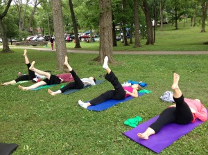 Pilates under the shady trees!